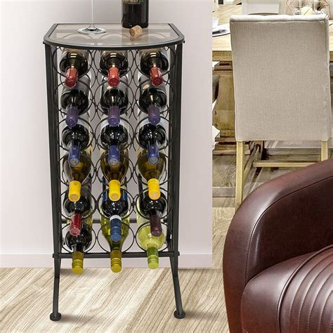 Vanderhoff Glass Top 18 Bottle Floor Wine Rack