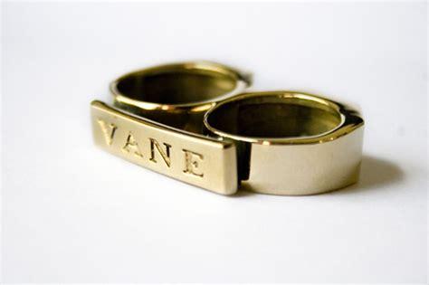 Brass Vane Two Finger Brass Knuckle Ring.