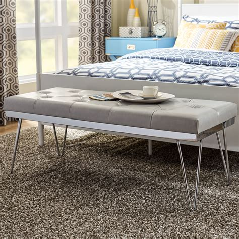 Varner Faux Leather Bench