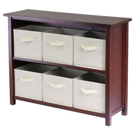 Verona 6 Drawers Low Storage Shelf with Foldable