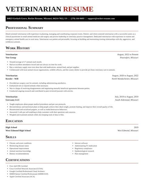 Veterinarian Resume Sample The Top  Jobs In California - Veterinarian resume