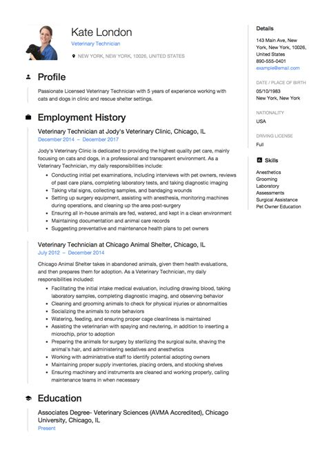 veterinary technician resume examples resume examples to refer while writing a resume veterinary technician resume samples