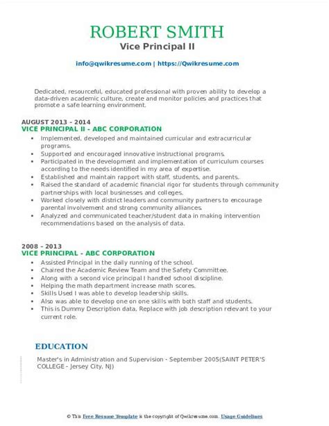 sample resume for vice principal position vice principal resume samples jobhero - Assistant Principal Resume