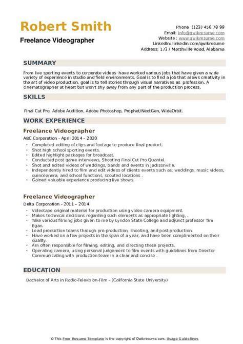 videographer resume sample freelance videographer resume samples jobhero - Videographer Resume Sample