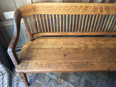 Vintage Wooden Bench With Back