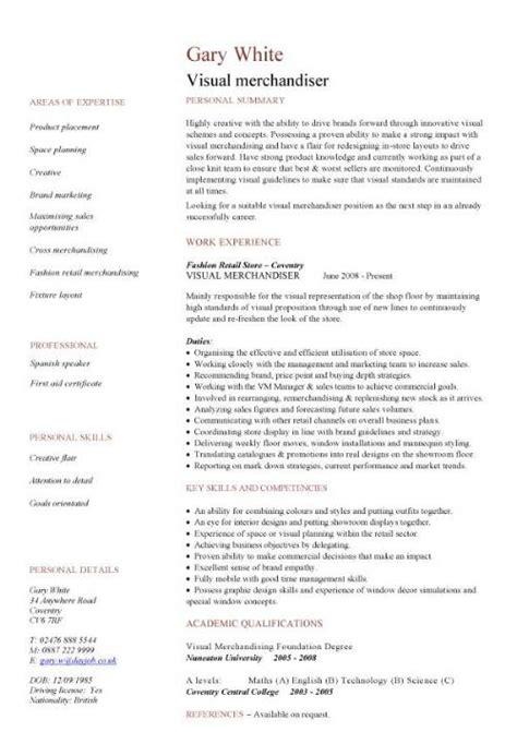 Cv Template For Retail Uk   Job References No Experience Cv Template For Retail Uk Visual Merchandiser Cv Template Dayjob