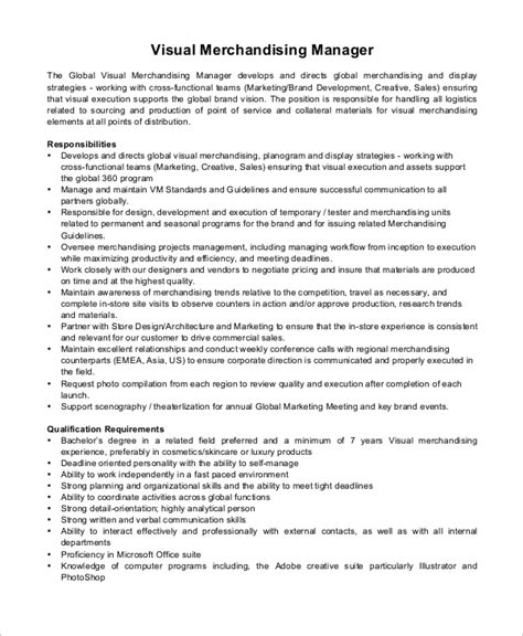 visual merchandising job description resume sample cover letter