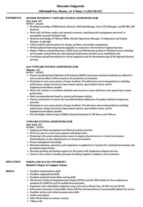 Vmware Administrator Resume Sample Sample Resume For Linux System Administration And Formats