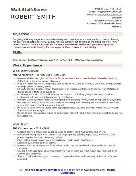 wait staff resume wait staff resume examples corey hamann resume