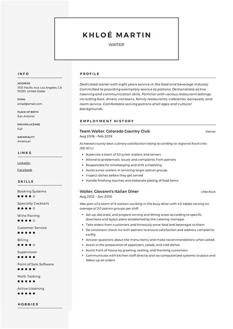 Resume Examples  Resume Examples for Hospitality  resume for bar     happytom co