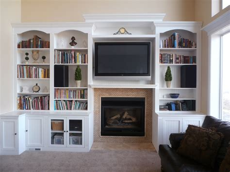 wall bookcases fireplace