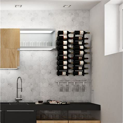 Wall Series Contemporary Wet Bar 52 Bottle Wall Mounted Wine Rac by