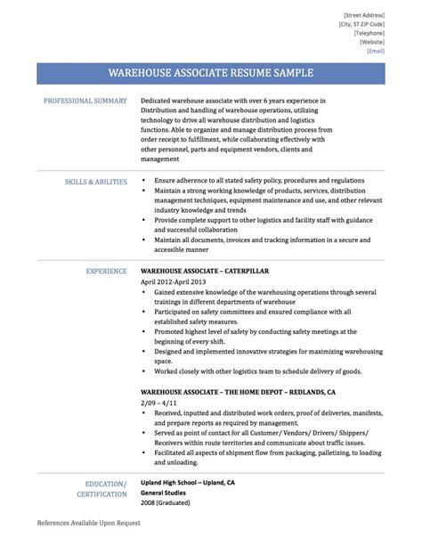 sample resume for warehouse supervisor resume printable of