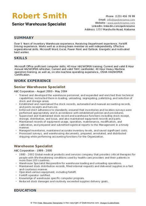 warehouse resume skills sample warehouse specialist resume sample one logistics resume - Warehouse Specialist