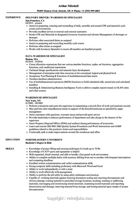 inventory specialist resume objective warehouse specialist resume best sample resume