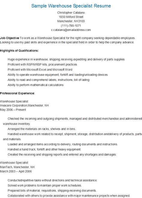 awesome sample resume for warehouse picker packer images simple