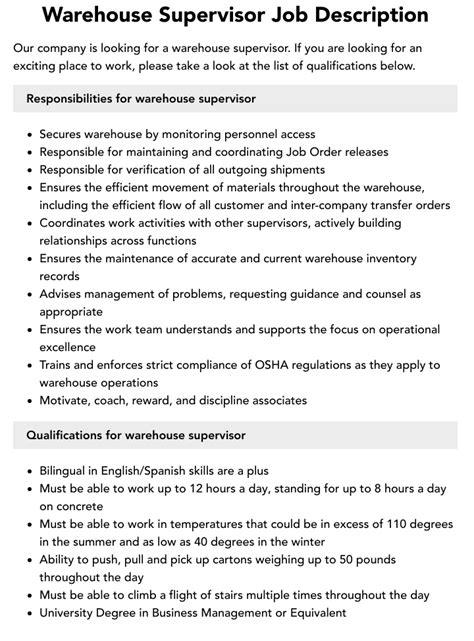 Warehouse Supervisor Job Description Resume Basic Job Description Major  Responsibilities