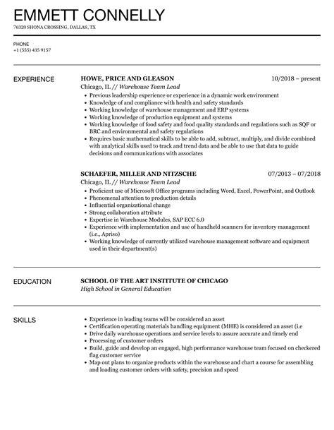 sample warehouse lead resume
