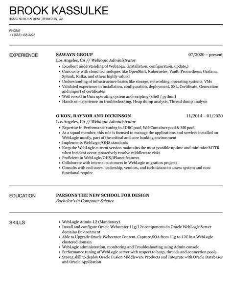 weblogic administrator resume sample weblogic administrator