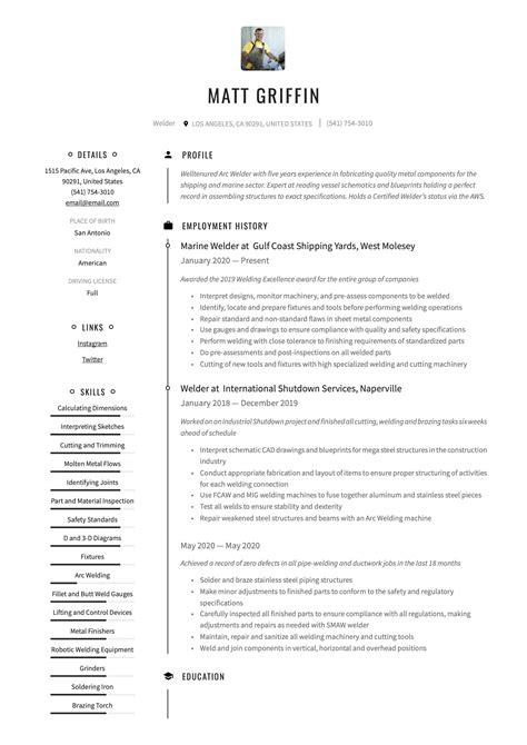 Sample Resume Welder Position