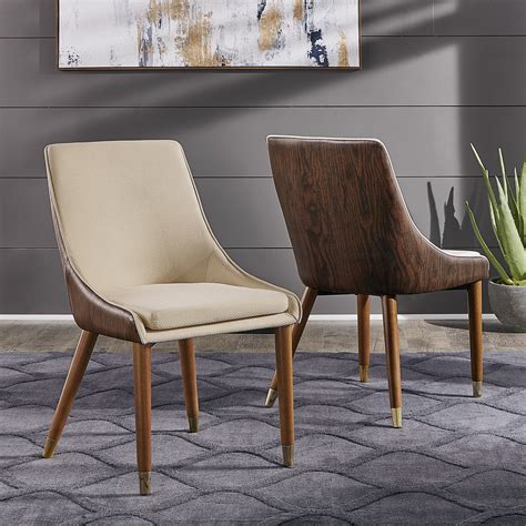 Weronika Contemporary Leather Upholstered Dining Chair (Set of 2)