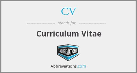 what does cv stand for resumes
