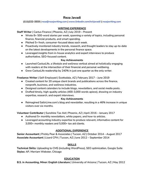work experience resume what to include in a resume experience section
