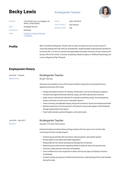 what to put in your resume kindergarten kindergarten teacher resume samples jobhero