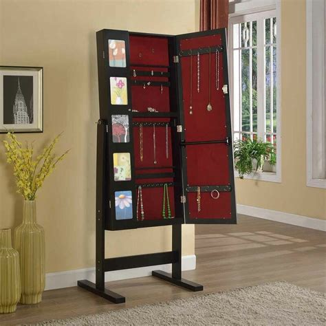 Whitchurch Deluxe Double Doors Jewelry Armoire with Chevor Mirror