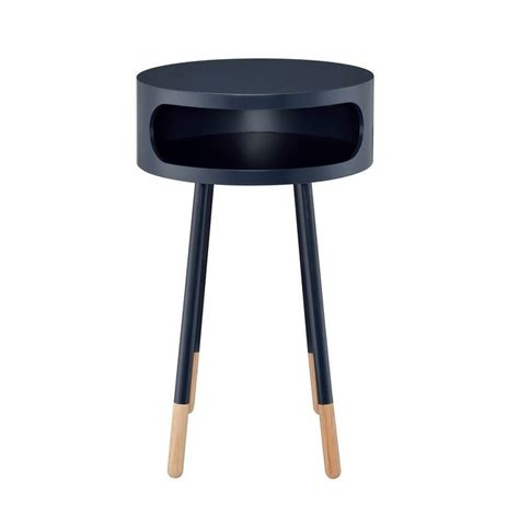 Whiteway Wooden Round Nightstand with Open Drawer