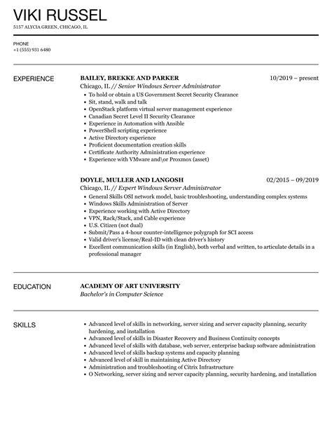 sample resume windows server 2003