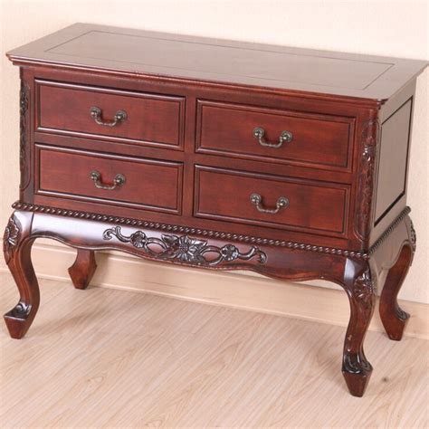 Windsor Hand Carved 4-Drawer Wooden Console Table