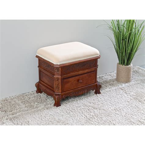Windsor Hand Carved Vanity Stool with Cushion
