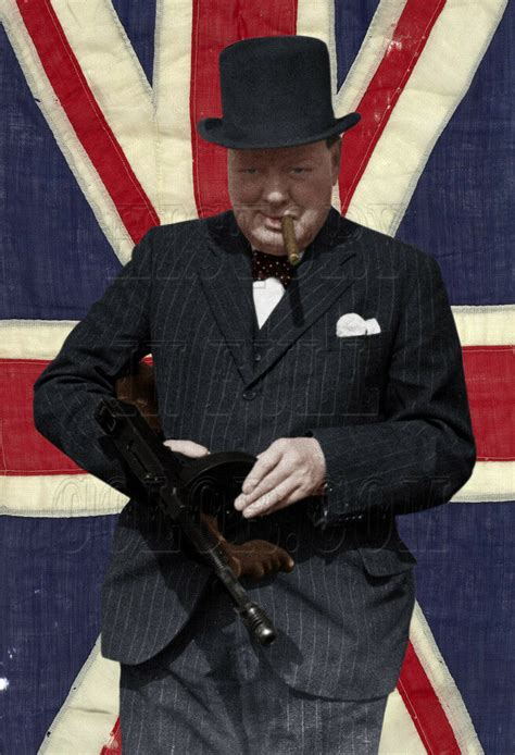 Tommy-Gun Winston Churchill With A Tommy Gun Color.