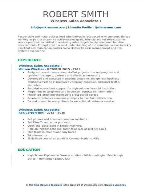 sample resume for wireless sales associate wireless sales associate resume samples jobhero - Sample Resume For Sales Associate