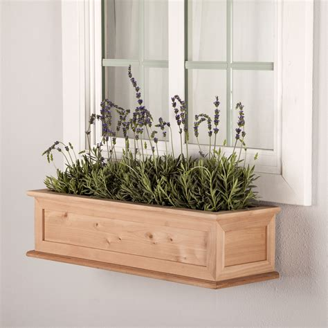 wood planter boxes window