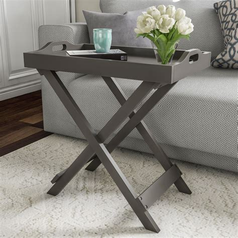 Wood Accent Tray End Table