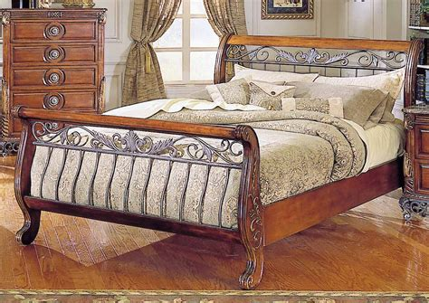 Wood and Metal Sleigh Bed by Fashion Bed Group