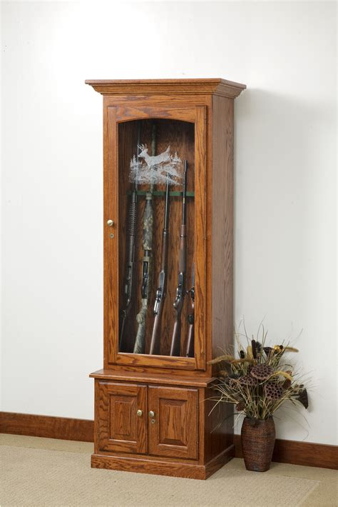 wooden gun cabinets with etched glass