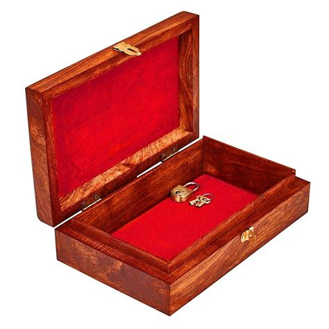 wooden jewelry box with key