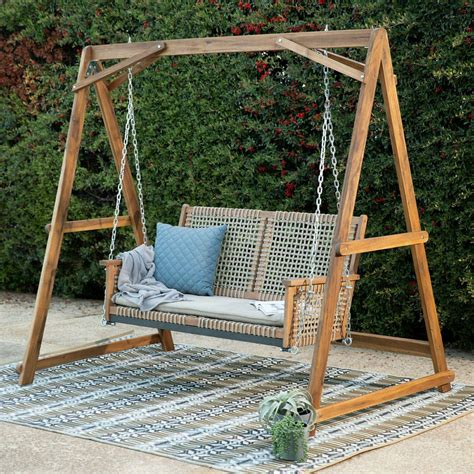 wooden patio swing stand