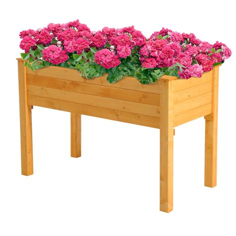 wooden planter box with legs