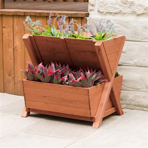wooden tiered planter boxes