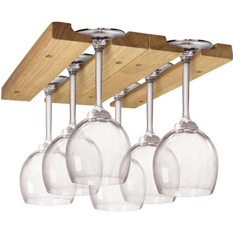 wooden wine racks with glass holders