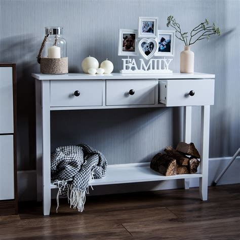 Wooden 3 Drawer Console Table
