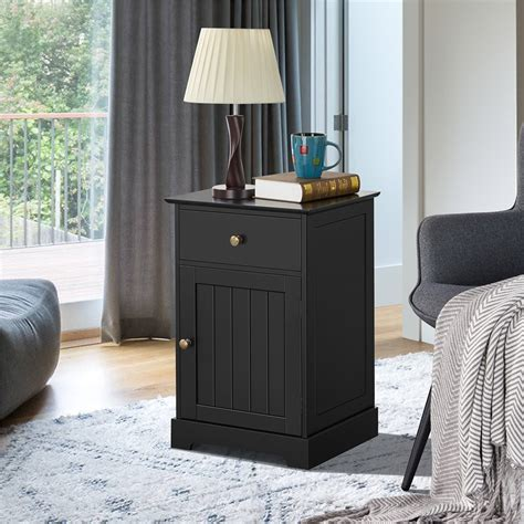 Wooden 4 Drawer and Side Door Storage with 1 Shelf Accent Cabinet