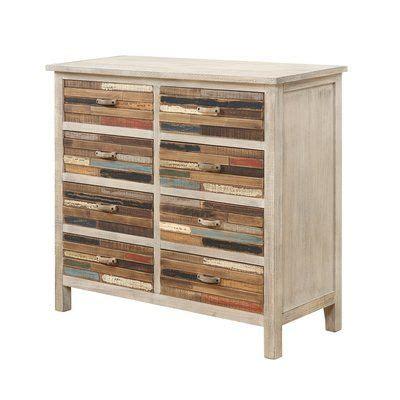Wooden Storage 8 Drawer Accent Chest
