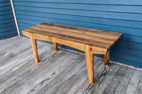 Wooden Bench Made From Logs