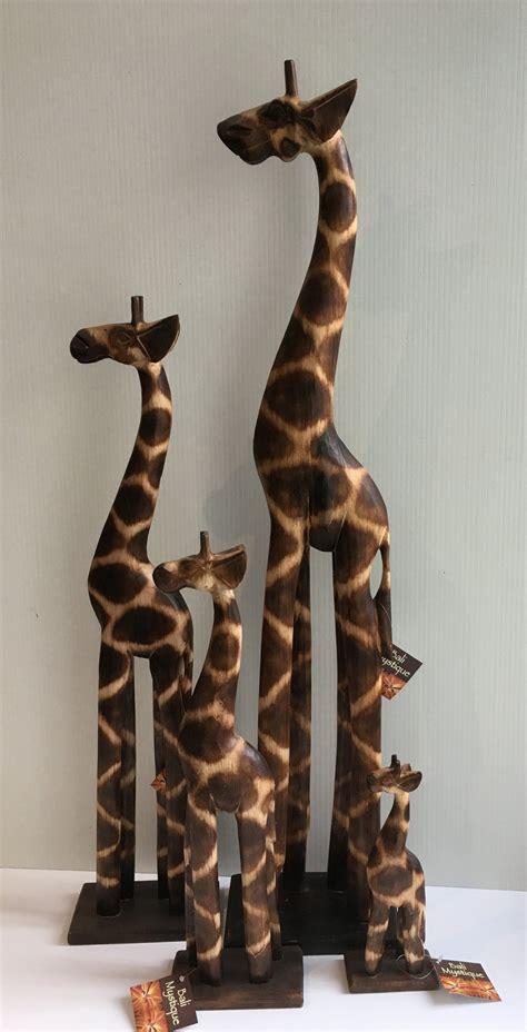 Wooden Giraffe Statue
