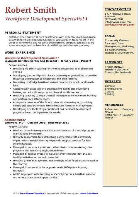 Workforce Development Specialist Resume Sample Employment Specialist Resume Samples Jobhero